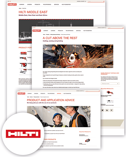 Screenshots Hilti Onlineshop