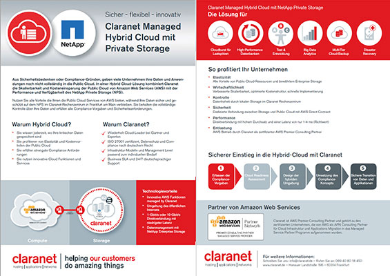 Claranet Managed Hybrid Cloud mit NetApp Private Storage
