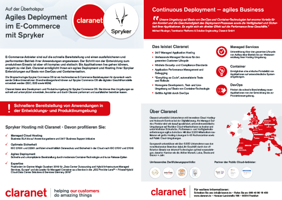 Flyer: Agiles Deployment  im E-Commerce mit Spryker